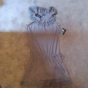 Brand new Express taupe beige eyelet romper dress